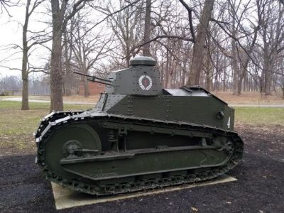 An American M1917 tank, on display in Illinois. The M1917 were French Renault FT17 tanks imported by and occasionally produced under liscense by the United States for their limited armored forces, and would be the primary US tanks until new armored developments would begin in the 1930's.