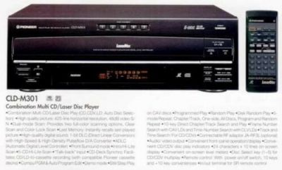 A print advertisement for the Pioneer M301 LaserDisc player.