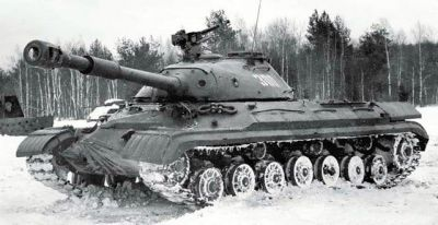 A Soviet T-10 tank, as seen in 1956. An improved version of the IS-3 and IS-7 heavy tanks intended for use during a possible nuclear war.
