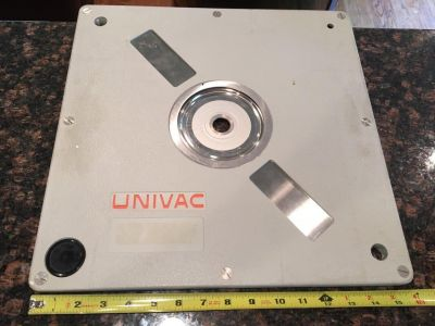 Ever wondered what the storage disks for the Univac system looked like? Wonder no more. Works on the same principle as a floppy disk, except it's immense and weighs a comparative ton.