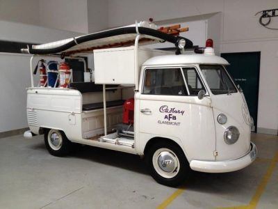The Cadbury Chocolate Factory's former in-house fire engine, a Volkswagen bus modified for the role.
