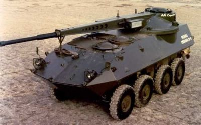 A prototype Ares XM274 75mm hyper-velocity cannon mounted on a Canadian-made LAV-II, sometime in the early 2000's. Evidently it was laughably impractical, but as looks go, it's undeniably cool.
