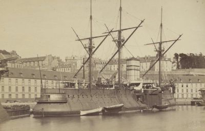 The French ironclad Le Redoutable in Brest, 1882.