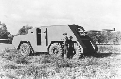 Have a look at this- the 1942 Thornycroft Amazon. It was Britain's attempt to get their then-biggest anti-tank gun, the 17-pounder gun mounted onto something that could protect Britain from invasion, and then hopefully take the fight to the Germans- sticking it out the back of a truck has some noticeable shortcomings though, so it was not produced in number and never deployed.