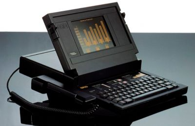 "A GRiD laptop computer from the late 1980's featuring a ""smart"" phone. Very cool old systems for the wealthy elite of the time."