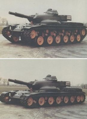 The American T95 medium tank prototype, which featured experimental hydro-pneumatic suspension to allow it to do all sorts of wild things. It was fitted with the turret intended for the M60A2 Starship tank, as they expected it would need to fire both conventional shells and missiles with it's specialized gun. The American army instead opted to go with the larger, more powerful (and surprisingly cheaper) M1 Abrams design instead.
