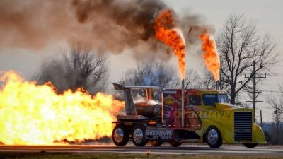 "The Shockwave, a jet-propelled ""monster truck""."