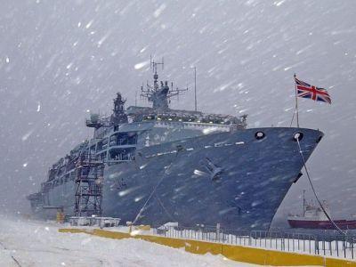 HMS Halifax enduring a blizzard.