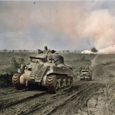 Shermans on the open road, 1944.