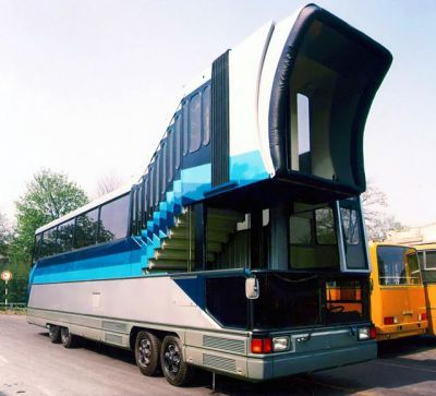 The Ikarus Air Connect, a prototype bus that would allow passengers to be ferried from airport facilities directly to airplanes, built by Hungarian bus maker Ikarus during the late Soviet era. It did not reach any meaningful production.