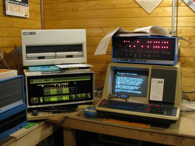 A computer lab brimming with antique CP/M equipment from a time now largely forgotten.