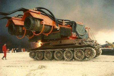 A T-44 fitted with two jet engines pulled from MiG fighter jets makes one incredible tool for fighting fires.