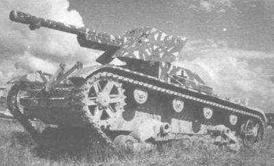 A T-26 with a 75 cm PaK 97-38 AT gun mounted on top. Check it out!