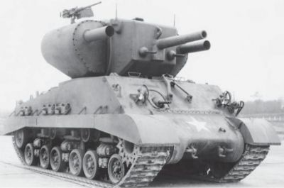 The T-31 Demolition tank, a modified M4A3E8 Sherman tank featuring twin rocket launchers- designed to attack bunkers and fortifications. World War Two ended before it was through development.