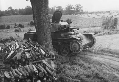 A Swedish STRV M/40L light tank hiding behind a tree. If you look closely, you can just about see it. ;)