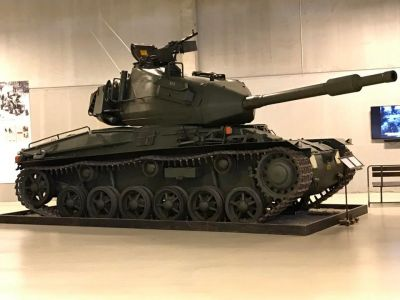 The Swedish STRV 74 at the Arsenalen museum.