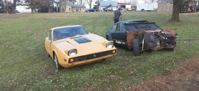 A pair of 1970's Saab Sonnet sports cars for sale over by me.