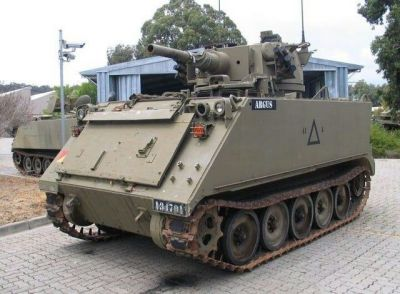 An Australian M113 with a Saladin armored assault vehicle turret mounted on top. The practicality of this thing is... questionable.