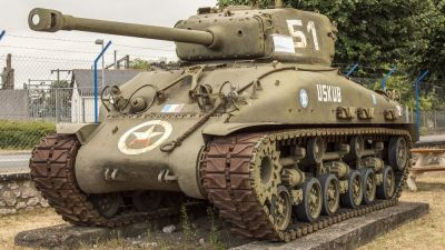 The mighty M4A3E8 Sherman tank on display.