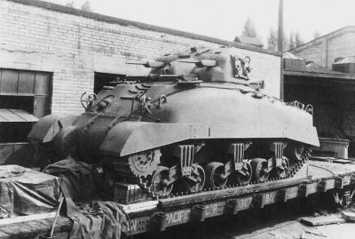 """A Canadian-built """"Skink"""" quad-cannon tank on the rail! Not many built, none saw action."""