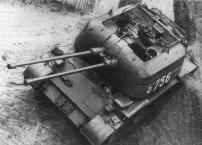 A Polish ZSU-57-2, an anti-aircraft gun mounted onto a tank chassis.