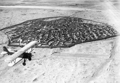 The city of Baghdad, Iraq, as seen from the air in 1928.