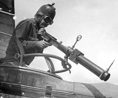 An aircraft gunner as seen in World War 1.