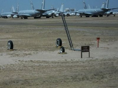 An F-117 Stealth Fighter on display at Davis–Monthan Air Force Base.