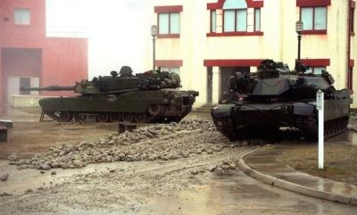 A pair of American Abrams tanks on a training exercise, sometime in the last few years.