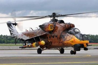 An MI-24 in the Hungarian Air Force, painted to look like an eagle, one of the dominant symbols of Hungary.